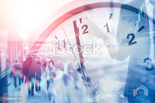 istock business time and working hours for financial and money office. 1129545215
