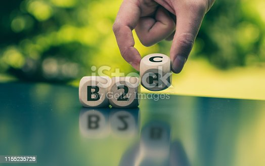 Business to Business or Busness to Consumer? Hand turns a dice and changes the expression