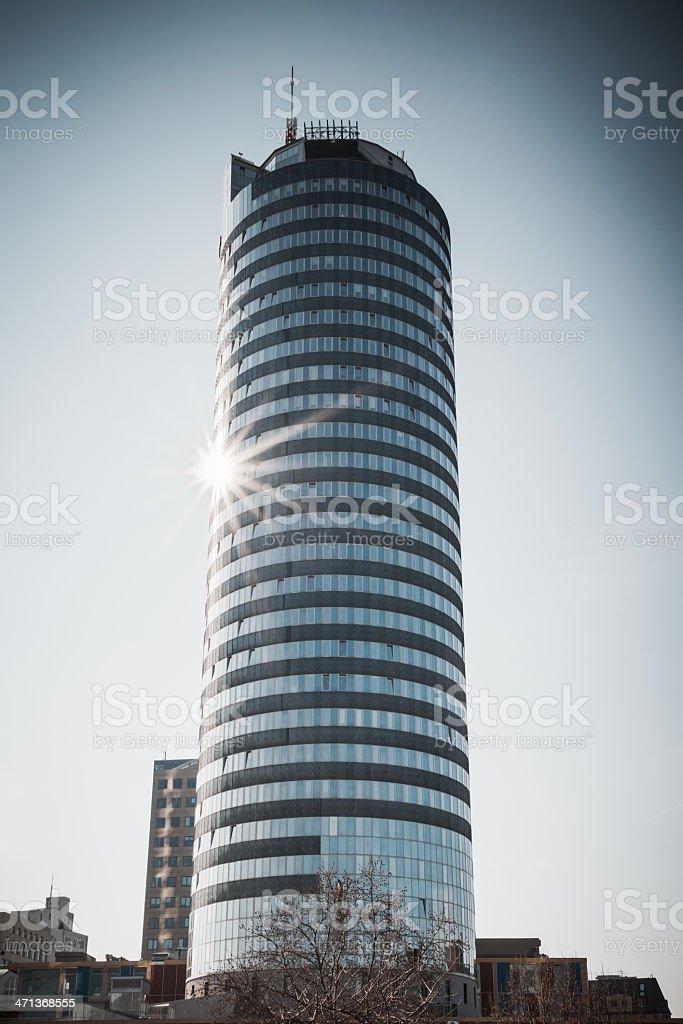 Business Tower Jena Germany, Polaroid 669 Style stock photo