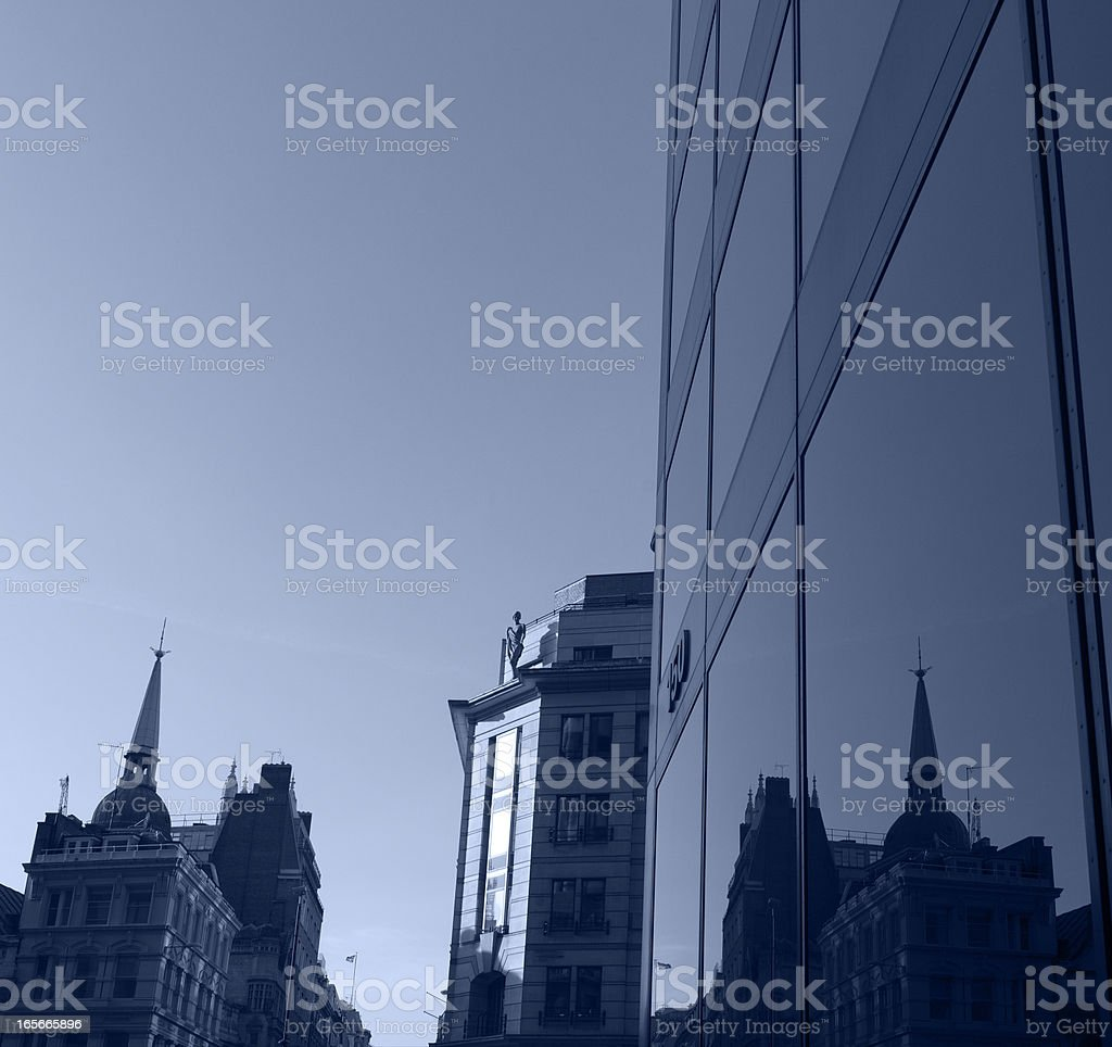 Business towers and church royalty-free stock photo