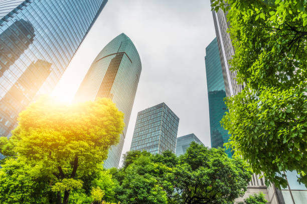 business towers and green leaves - sustainability foto e immagini stock