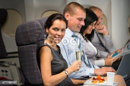 istock Business travel by plane woman enjoy refreshment 477799197