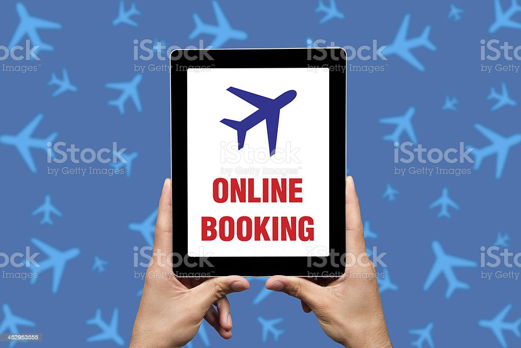 Business Travel Concept on a Tablet PC Screen royalty-free stock photo