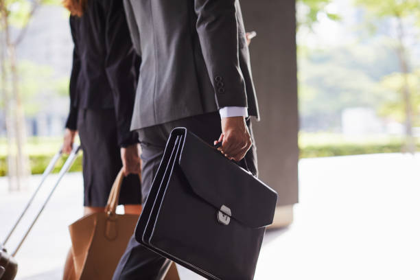 Business Travel detail of briefcase and suitcase. - foto stock