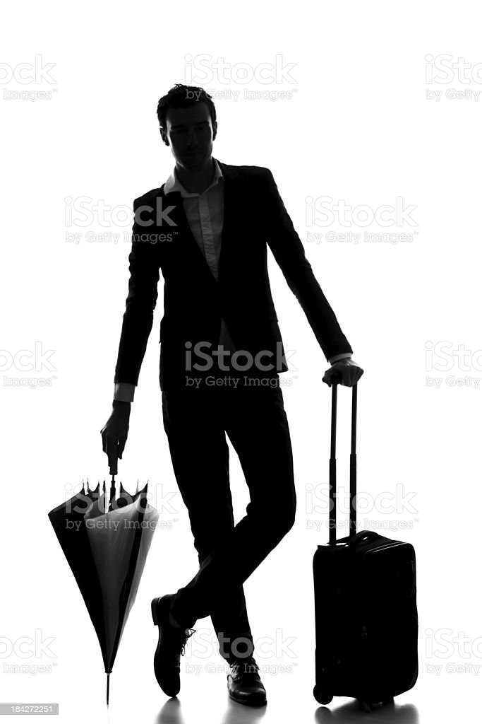 Business travel silhouette royalty-free stock photo
