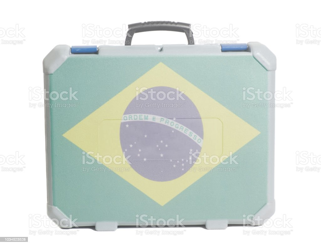 Business travel suitcase with flag of Brazil stock photo