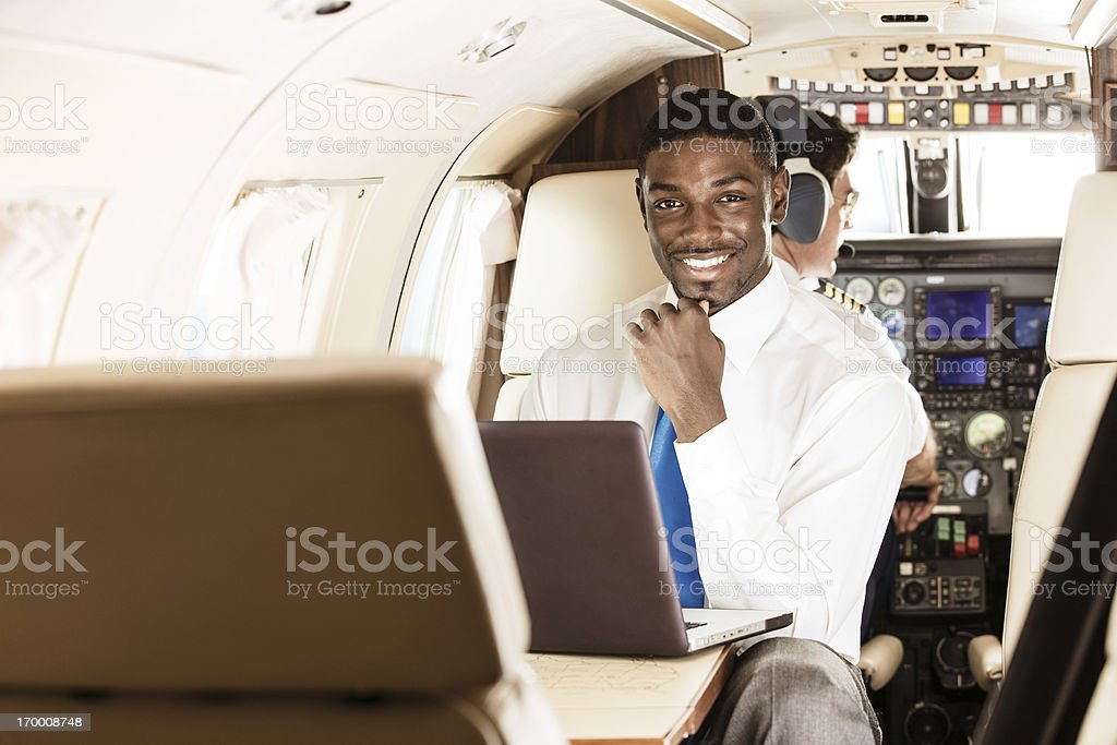 Business Traveler in Private Jet royalty-free stock photo