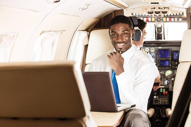 Business Traveler in Private Jet stock photo