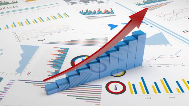 ビジネストレンドグラフとチャート ストックフォト