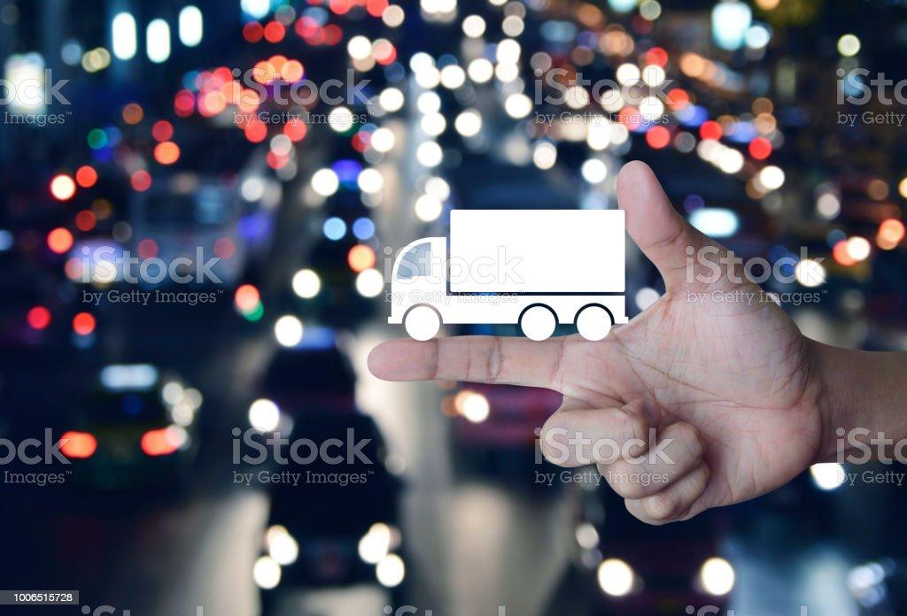 Business truck transportation service concept stock photo