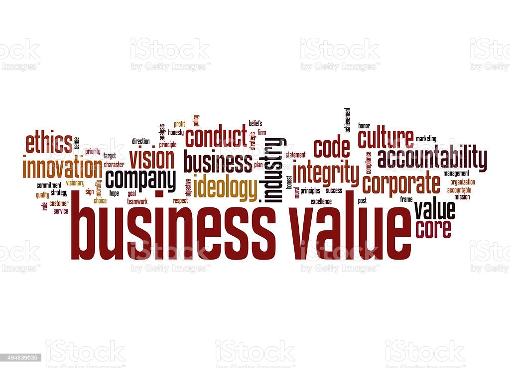 Business value word cloud stock photo