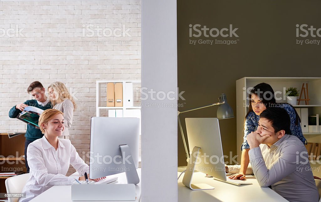 Business video communication stock photo