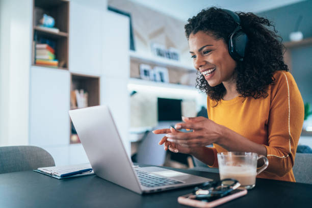 business video conference - side hustle stock pictures, royalty-free photos & images