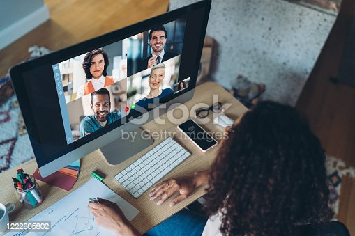Group of business person having a video conference