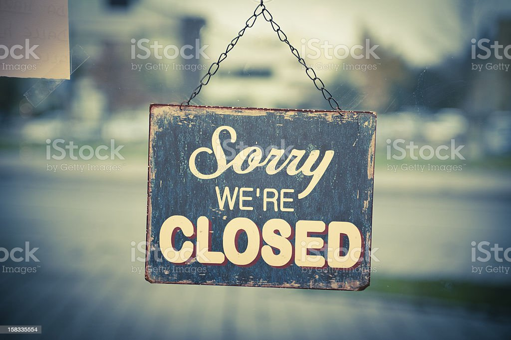 Business with Closed Sign stock photo