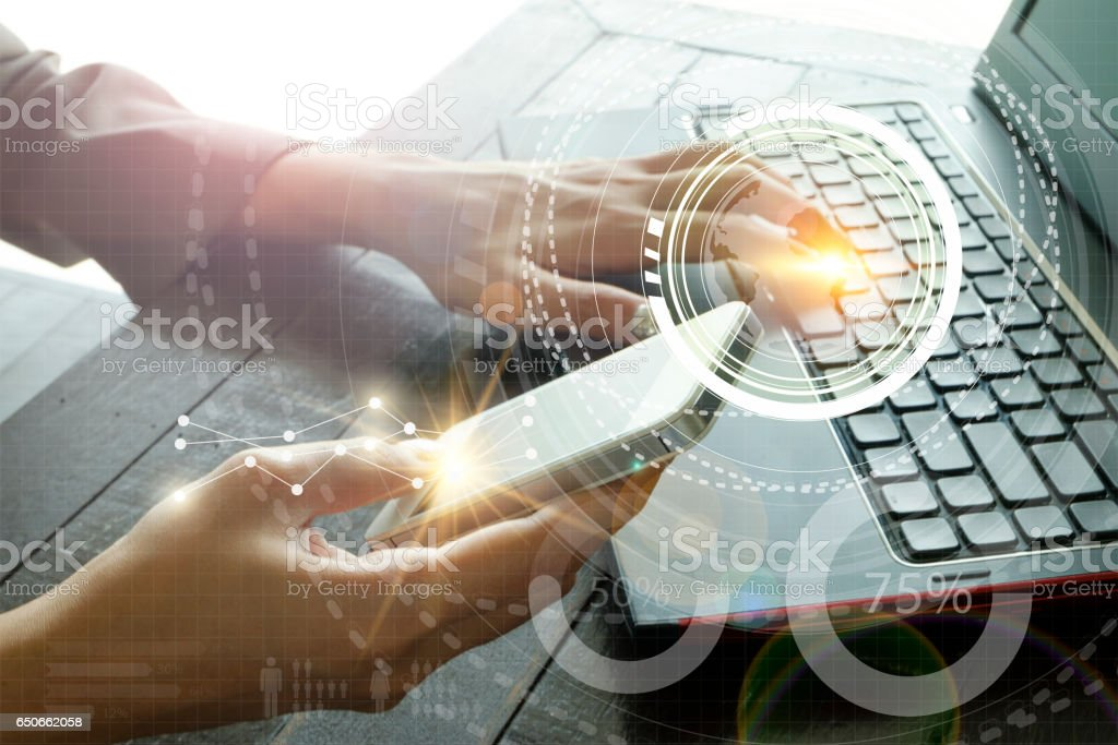 business with laptop connection technology interface stock photo