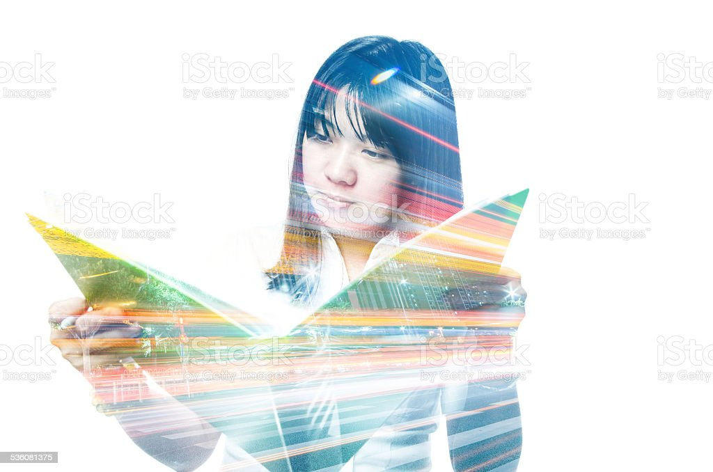 Business woman and city night double exposure stock photo