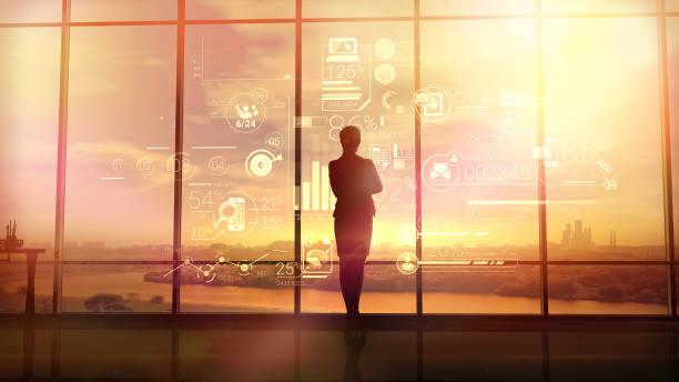 business woman and corporate infographics - amministratore delegato foto e immagini stock