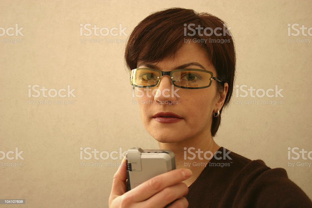 Business woman and dictaphone stock photo