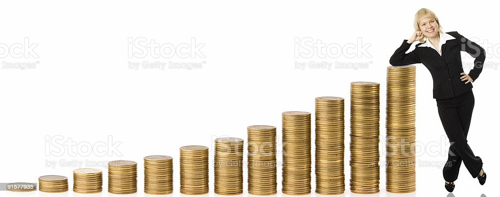business woman and graph from money royalty-free stock photo