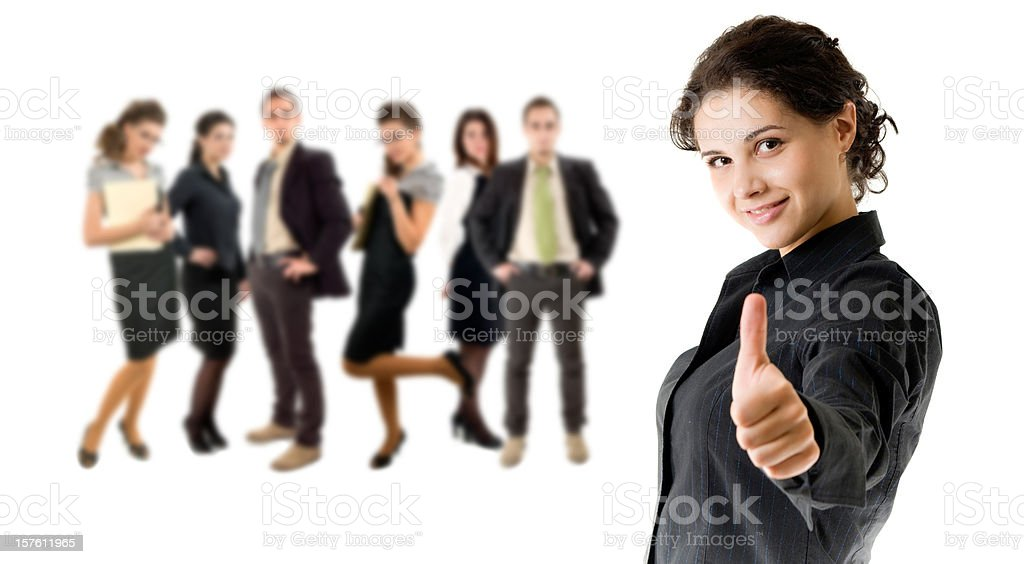 Business woman, and her team, with thumb up royalty-free stock photo