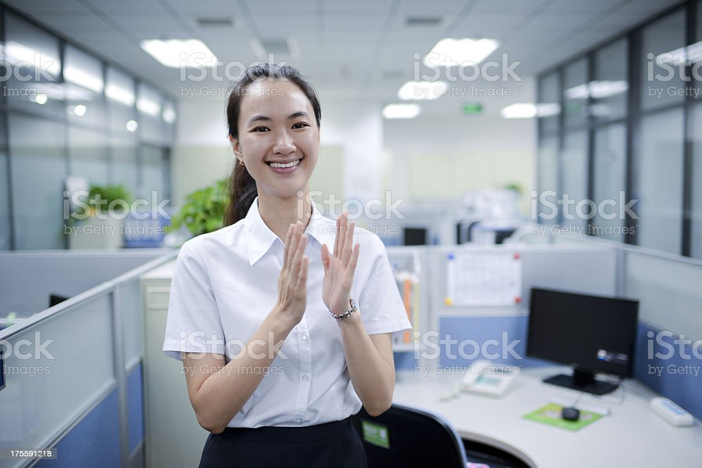 Business Woman Applauding for Congratulation - XXXXXLarge royalty-free stock photo