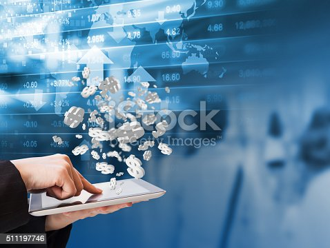 1054574038 istock photo Business woman are checking stock market 511197746