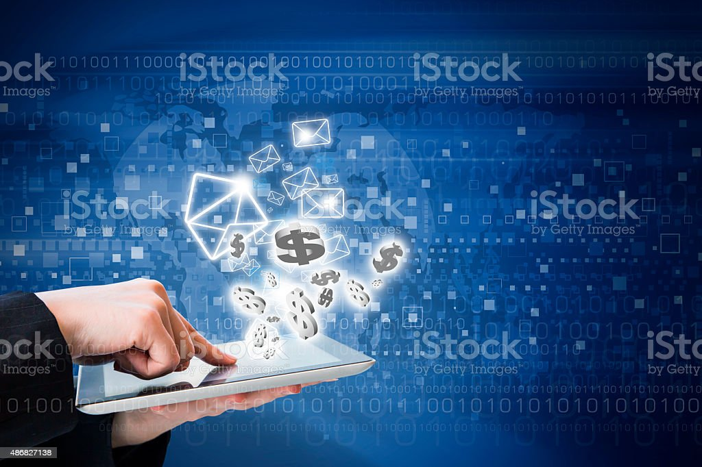 Business woman are sending email marketing by digital tablet stock photo