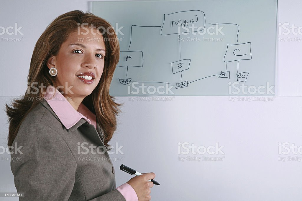 Business Woman At Glass Board royalty-free stock photo