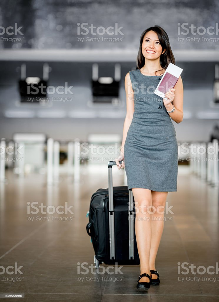 Business woman at the airport stock photo