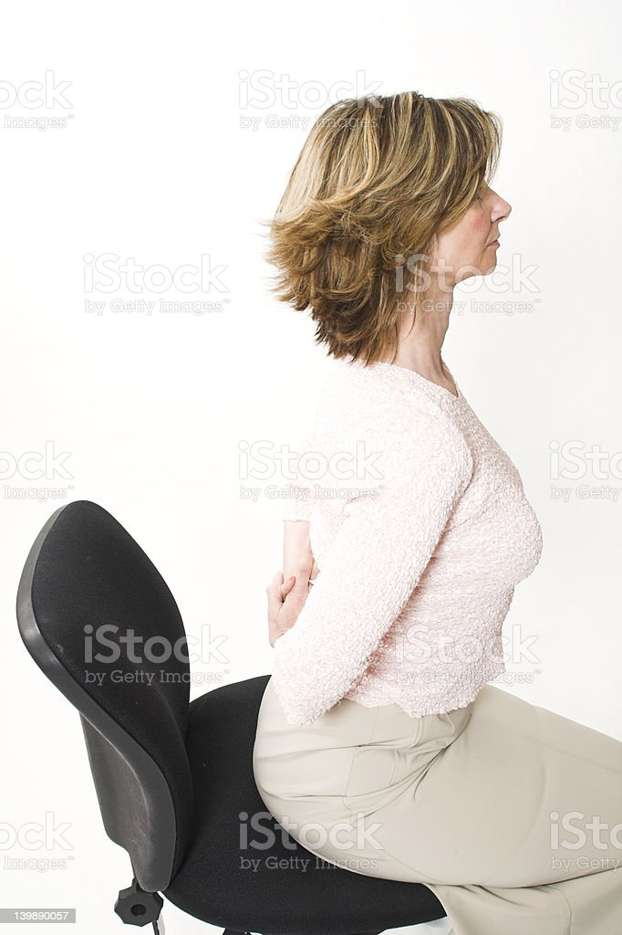 business woman back pain stock photo