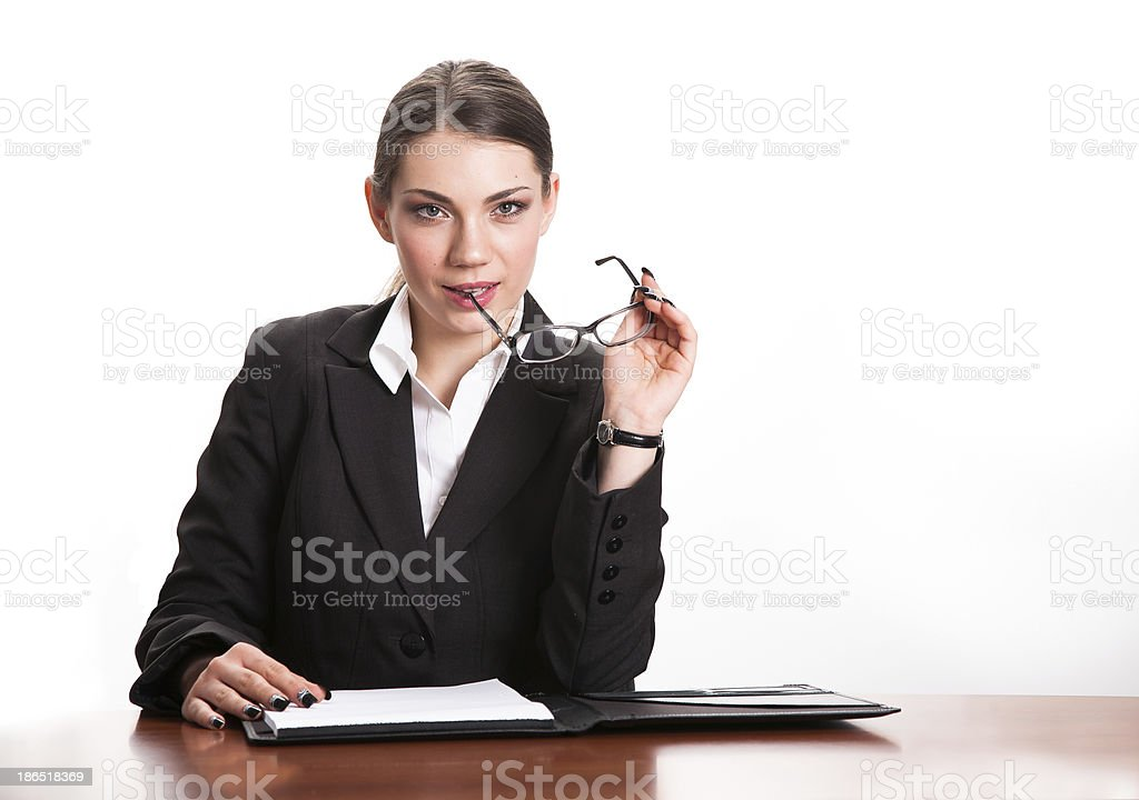 Business woman behind desk royalty-free stock photo