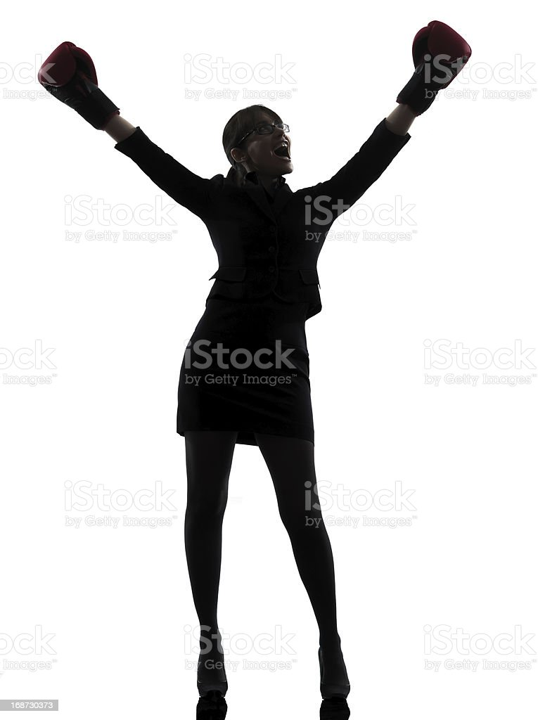 business woman boxing gloves silhouette royalty-free stock photo