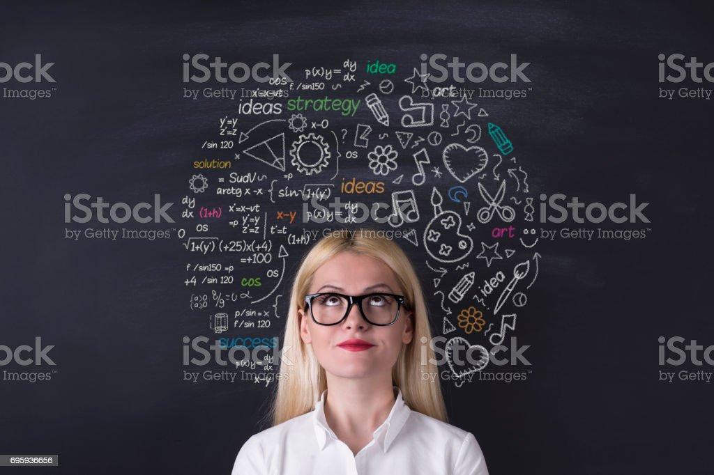 Business woman brain hemisphere on the blackboard royalty-free stock photo
