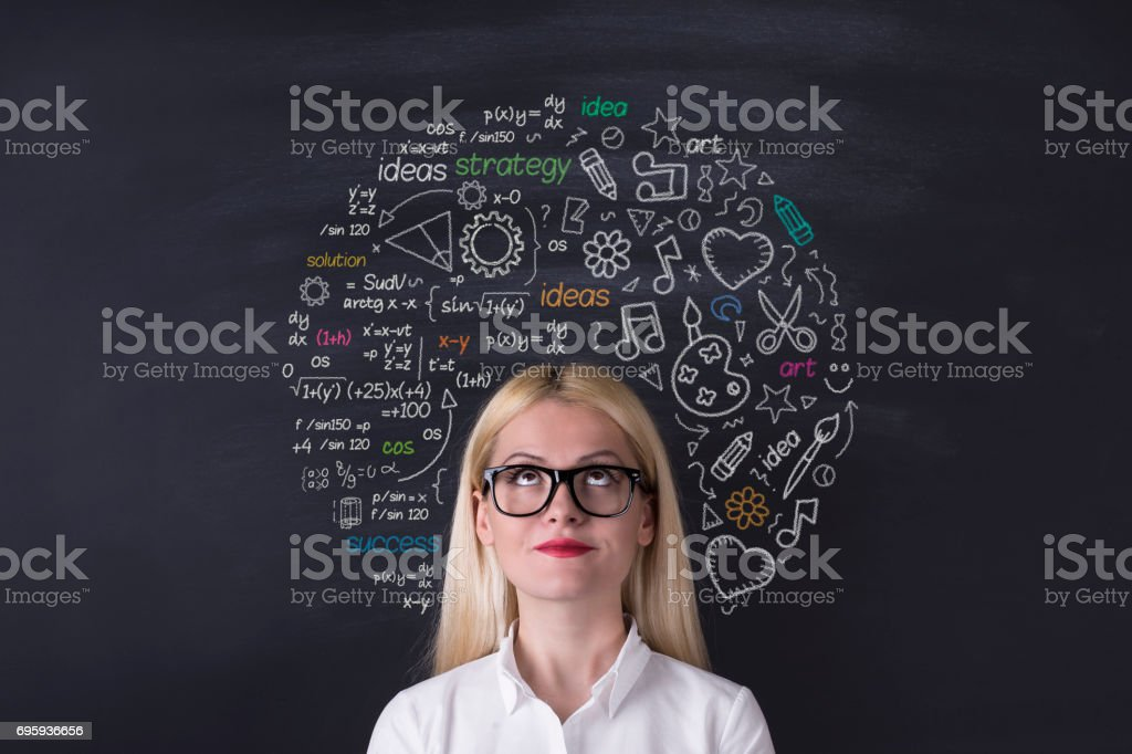 Business woman brain hemisphere on the blackboard stock photo