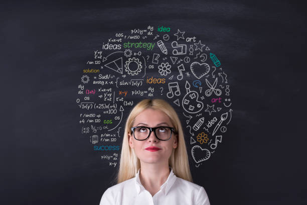 business woman brain hemisphere on the blackboard - genius stock photos and pictures