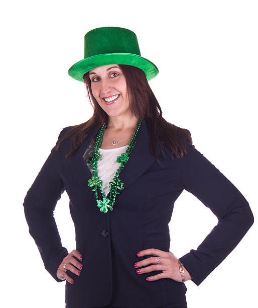 Business woman celebrating St. Patrick's Day stock photo