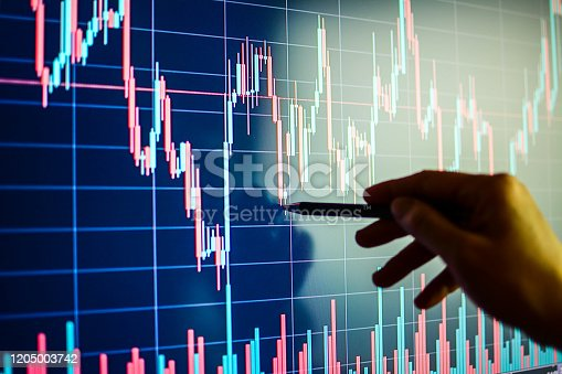 Data analyzing in exchange stock market: the candle chars on display. Busines woman alalysing stock market graph