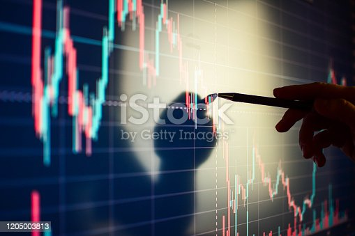 Data analyzing in exchange stock market: the candle chars on display.
