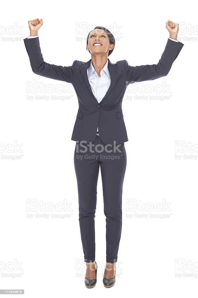 Business woman cheering. royalty-free stock photo
