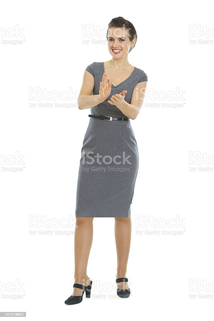 Business woman clapping royalty-free stock photo