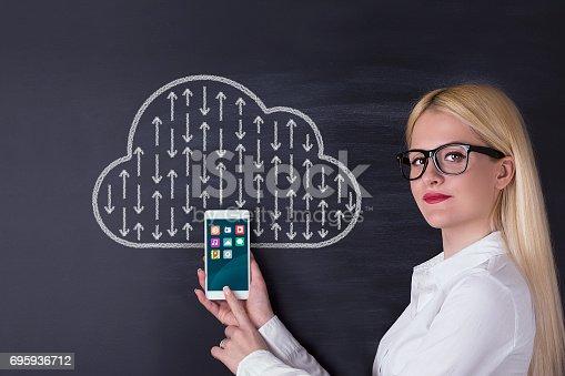 istock Business woman, cloud computing on the blackboard 695936712