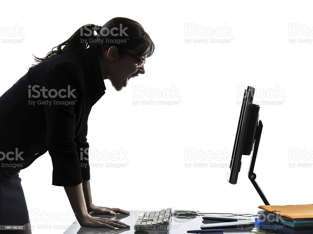 business woman computer computing  screaming angry silhouette royalty-free stock photo