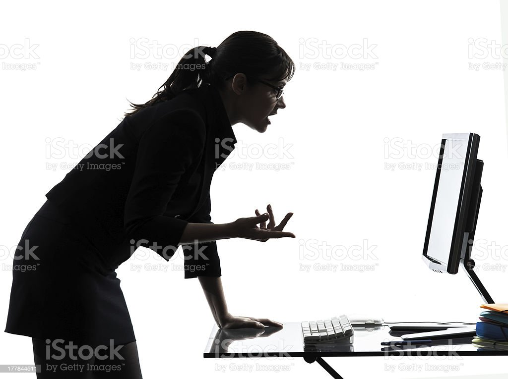 business woman computer computing  serious silhouette royalty-free stock photo