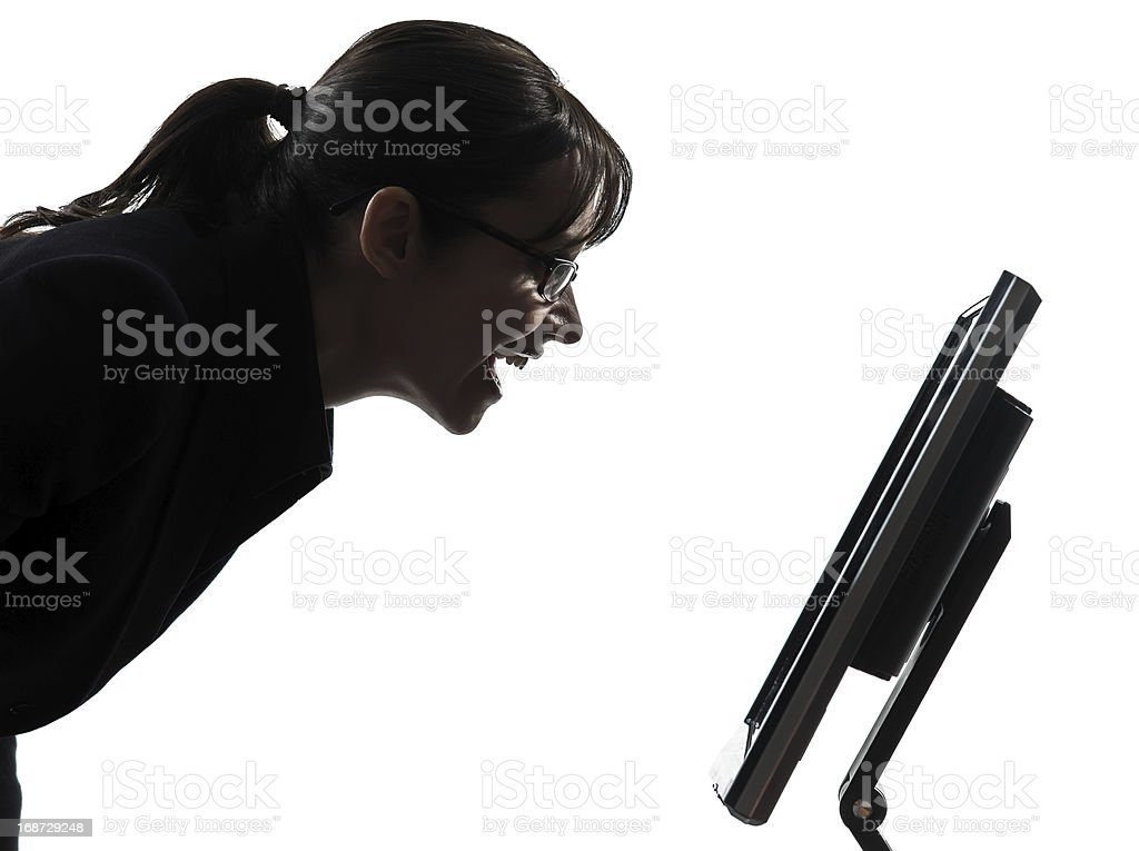 business woman computer computing silhouette royalty-free stock photo