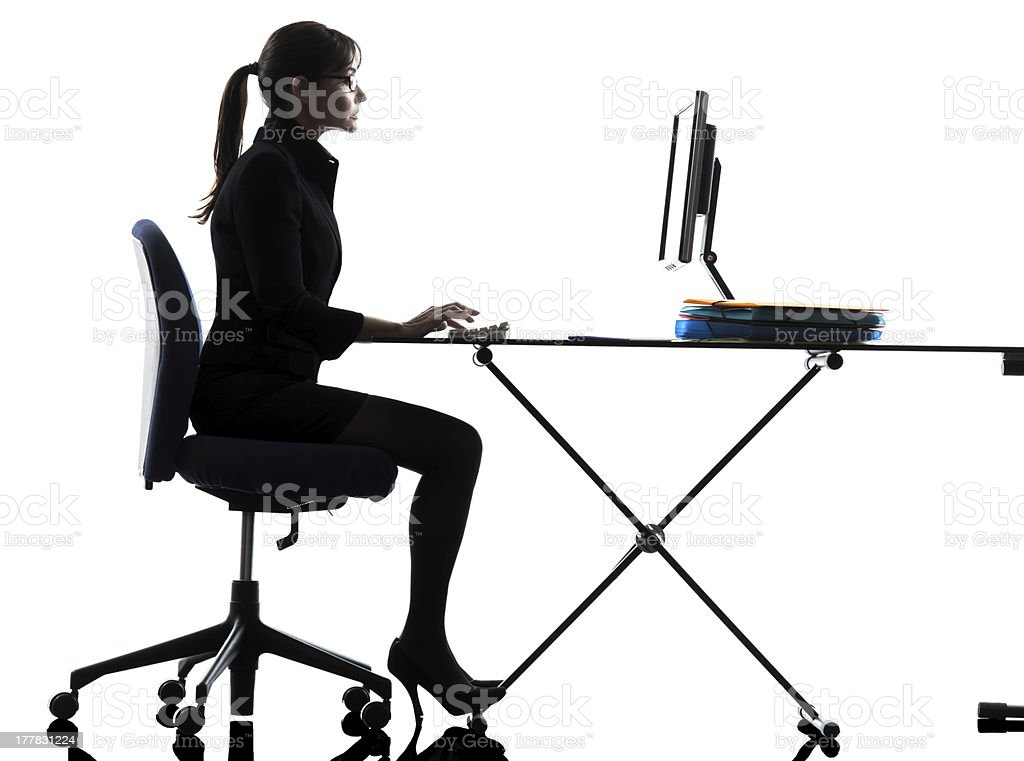 business woman computer computing  typing silhouette royalty-free stock photo