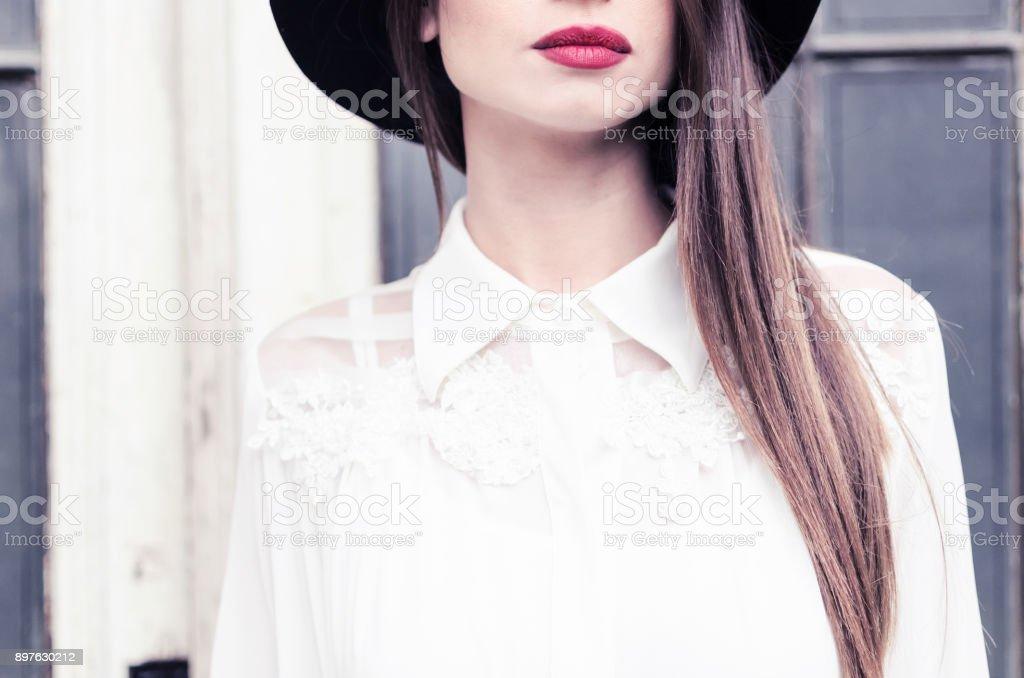Business woman cropped face - Foto stock royalty-free di Abbigliamento