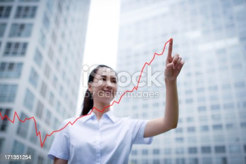 istock Business Woman Drawing a Growth Chart - XXXLarge 171351254