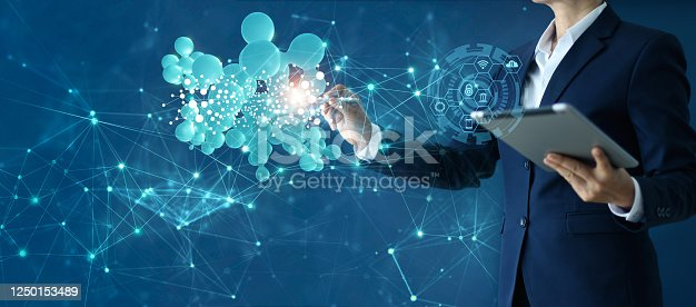914788012 istock photo Business woman drawing abstract 3D networking global structure and data exchanges customer connection on cyberspace, innovative and technology. 1250153489