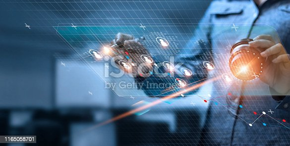 istock Business woman drawing and tracking global structure networking and data exchanges customer connection on dark background 1165058701